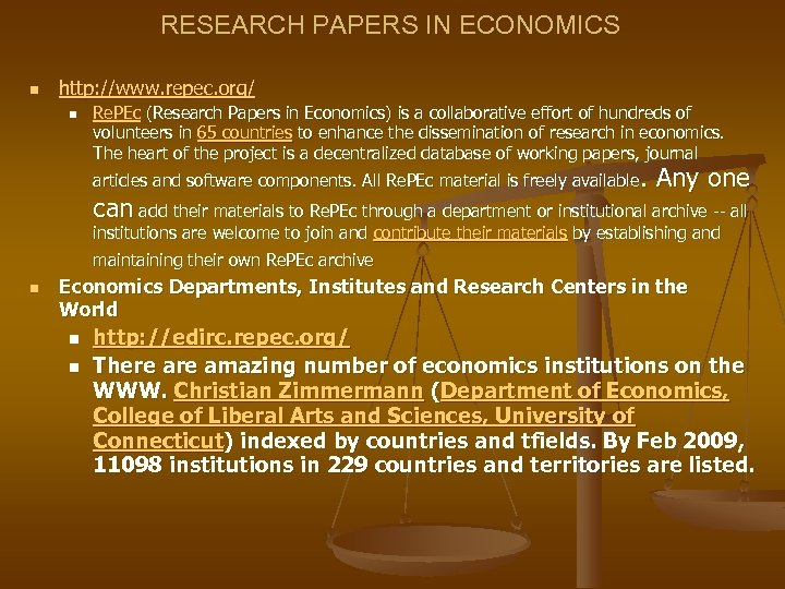 RESEARCH PAPERS IN ECONOMICS n http: //www. repec. org/ n Re. PEc (Research Papers