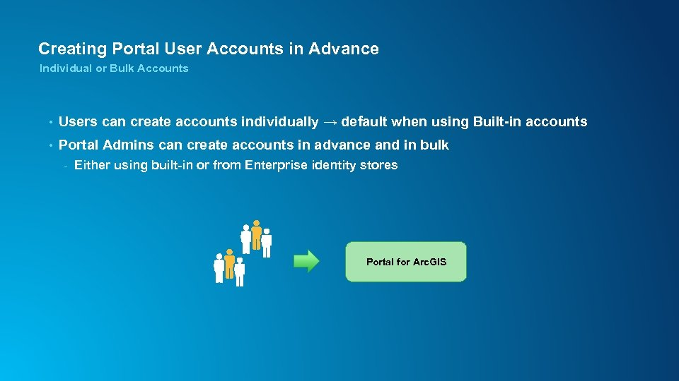 Creating Portal User Accounts in Advance Individual or Bulk Accounts • Users can create