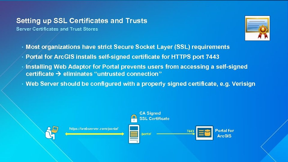 Setting up SSL Certificates and Trusts Server Certificates and Trust Stores • Most organizations
