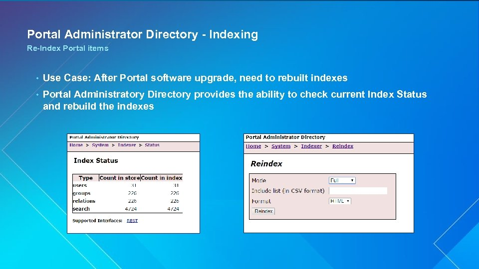 Portal Administrator Directory - Indexing Re-Index Portal items • Use Case: After Portal software