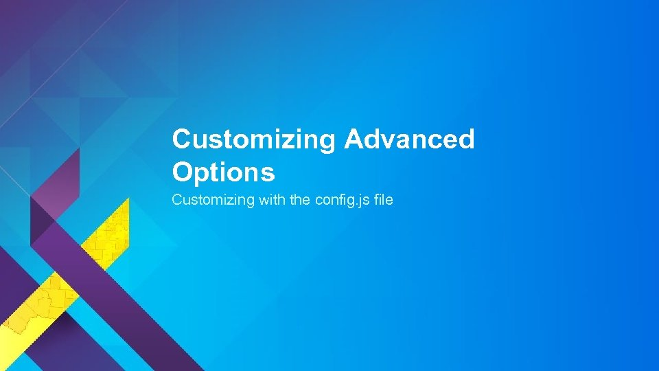 Customizing Advanced Options Customizing with the config. js file