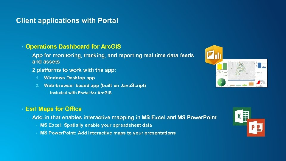 Client applications with Portal • Operations Dashboard for Arc. GIS - App for monitoring,
