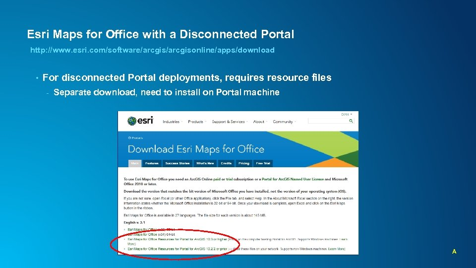 Esri Maps for Office with a Disconnected Portal http: //www. esri. com/software/arcgisonline/apps/download • For