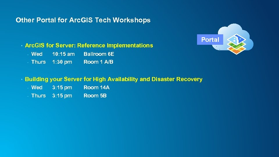 Other Portal for Arc. GIS Tech Workshops • Arc. GIS for Server: Reference Implementations
