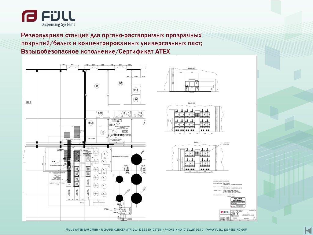 Резервуарная станция для органо-растворимых прозрачных покрытий/белых и концентрированных универсальных паст; Взрывобезопасное исполнение/Сертификат ATEX FÜLL