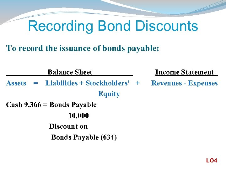 Recording Bond Discounts To record the issuance of bonds payable: Balance Sheet Assets =
