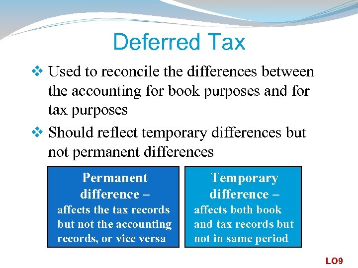 Deferred Tax v Used to reconcile the differences between the accounting for book purposes