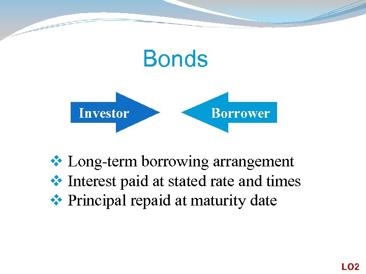 Bonds Investor Borrower v Long-term borrowing arrangement v Interest paid at stated rate and