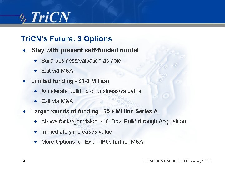 Tri. CN's Future: 3 Options · Stay with present self-funded model · Build business/valuation