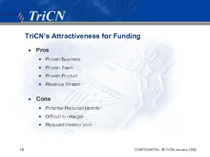Tri. CN's Attractiveness for Funding · Pros · Proven Business · Proven Team ·