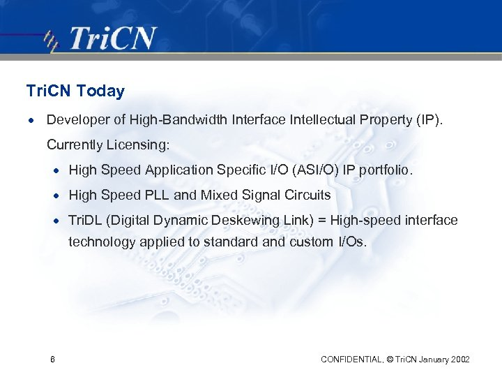 Tri. CN Today · Developer of High-Bandwidth Interface Intellectual Property (IP). Currently Licensing: ·
