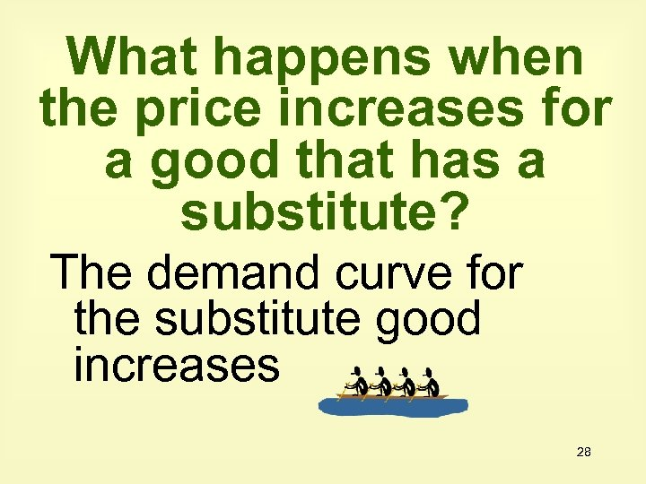 What happens when the price increases for a good that has a substitute? The