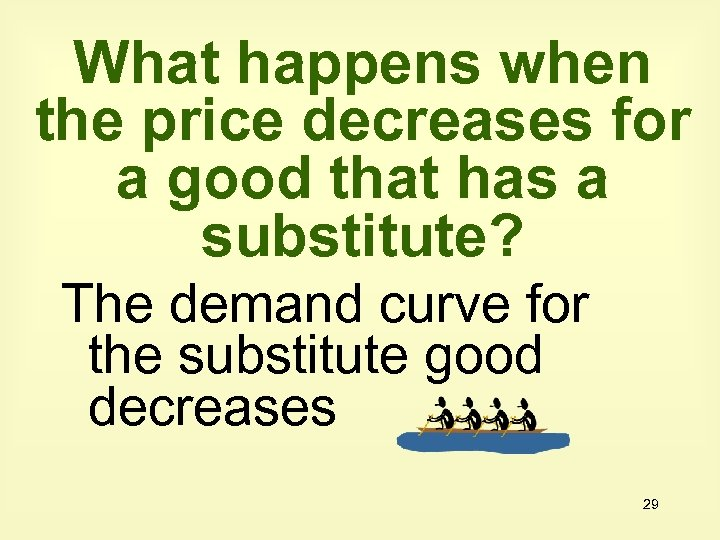 What happens when the price decreases for a good that has a substitute? The