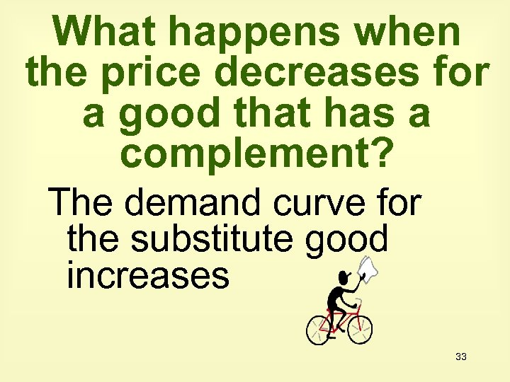 What happens when the price decreases for a good that has a complement? The