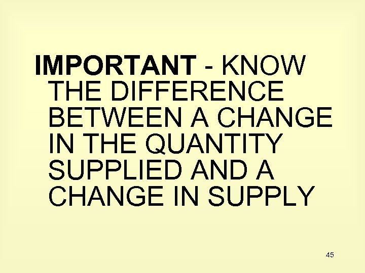 IMPORTANT - KNOW THE DIFFERENCE BETWEEN A CHANGE IN THE QUANTITY SUPPLIED AND A