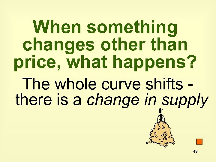 When something changes other than price, what happens? The whole curve shifts there is
