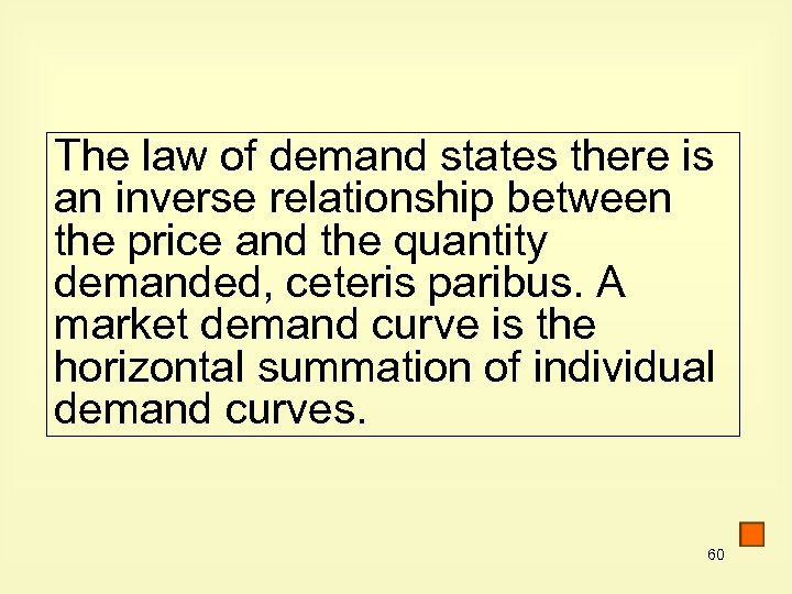 The law of demand states there is an inverse relationship between the price and