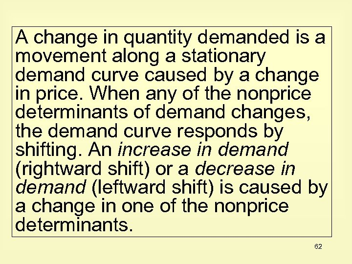 A change in quantity demanded is a movement along a stationary demand curve caused