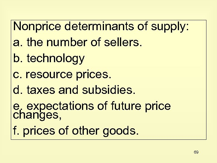Nonprice determinants of supply: a. the number of sellers. b. technology c. resource prices.