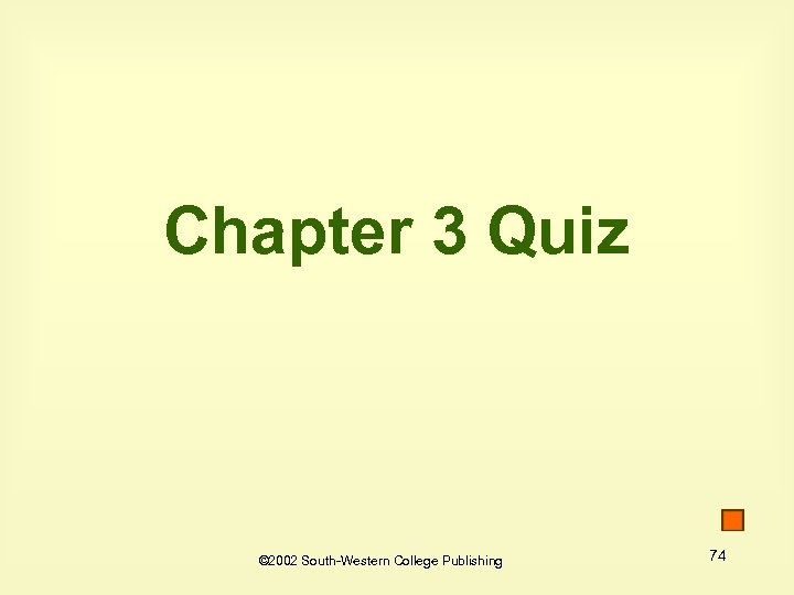 Chapter 3 Quiz © 2002 South-Western College Publishing 74