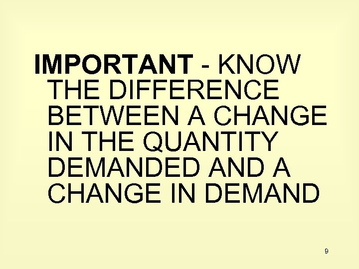 IMPORTANT - KNOW THE DIFFERENCE BETWEEN A CHANGE IN THE QUANTITY DEMANDED AND A