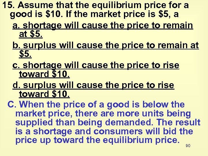15. Assume that the equilibrium price for a good is $10. If the market