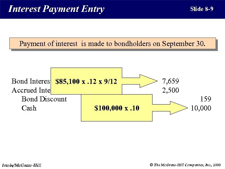 Interest Payment Entry Slide 8 -9 Payment of interest is made to bondholders on