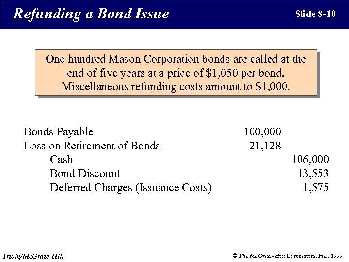 Refunding a Bond Issue Slide 8 -10 One hundred Mason Corporation bonds are called