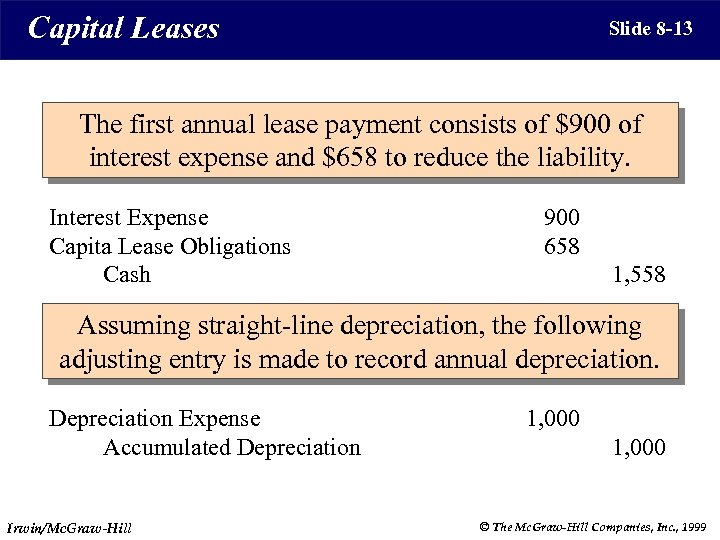 Capital Leases Slide 8 -13 The first annual lease payment consists of $900 of