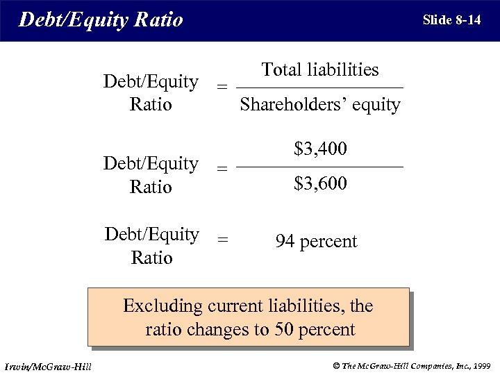 Debt/Equity Ratio Slide 8 -14 Total liabilities Debt/Equity = Shareholders' equity Ratio Debt/Equity =