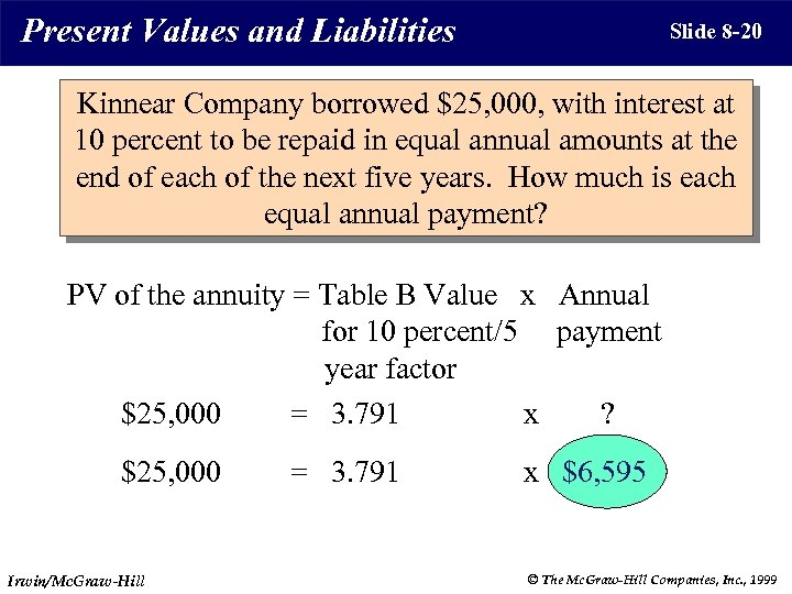 Present Values and Liabilities Slide 8 -20 Kinnear Company borrowed $25, 000, with interest