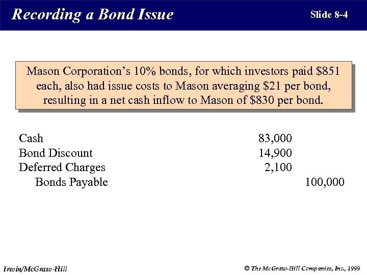 Recording a Bond Issue Slide 8 -4 Mason Corporation's 10% bonds, for which investors