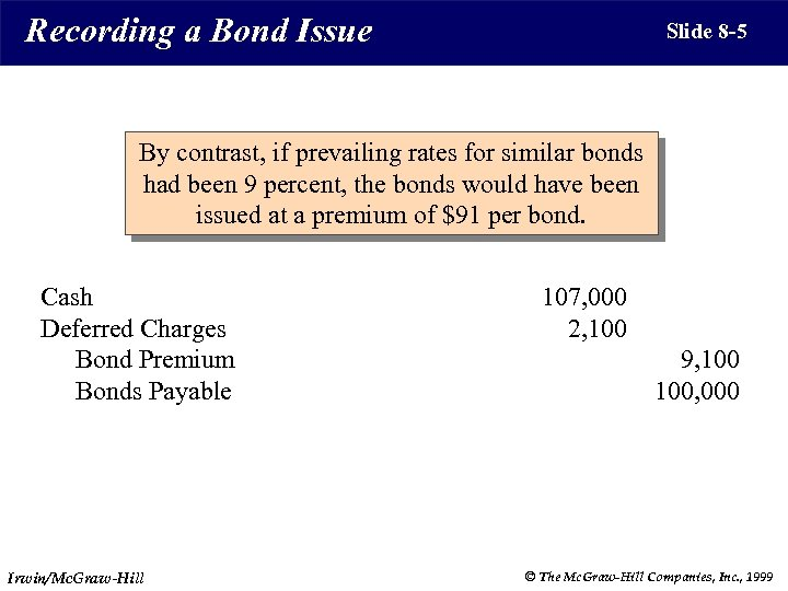 Recording a Bond Issue Slide 8 -5 By contrast, if prevailing rates for similar