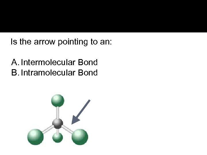 Is the arrow pointing to an: A. Intermolecular Bond B. Intramolecular Bond