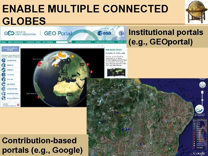 ENABLE MULTIPLE CONNECTED GLOBES Institutional portals (e. g. , GEOportal) Contribution-based portals (e. g.