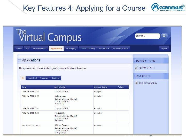Key Features 4: Applying for a Course