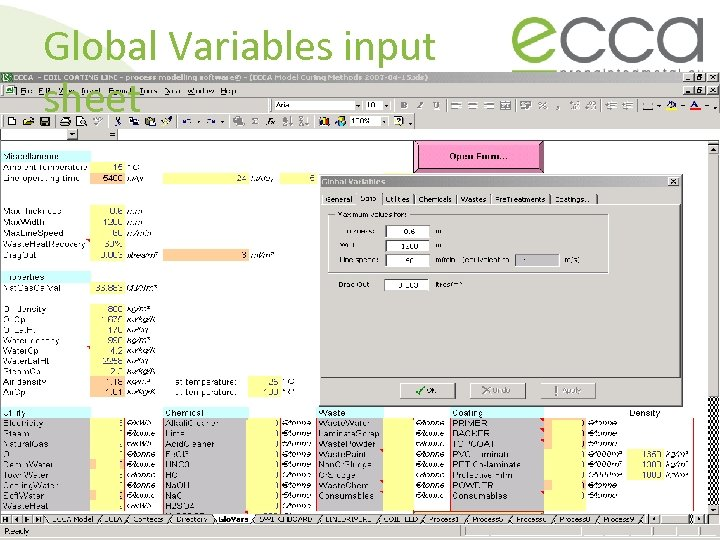 Global Variables input sheet