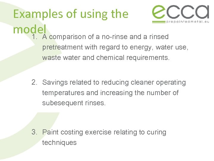 Examples of using the model comparison of a no-rinse and a rinsed 1. A