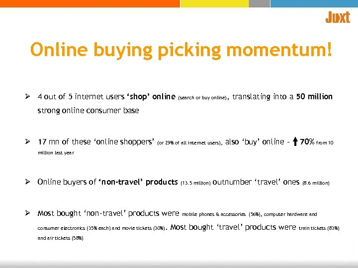 Online buying picking momentum! Ø 4 out of 5 internet users 'shop' online (search