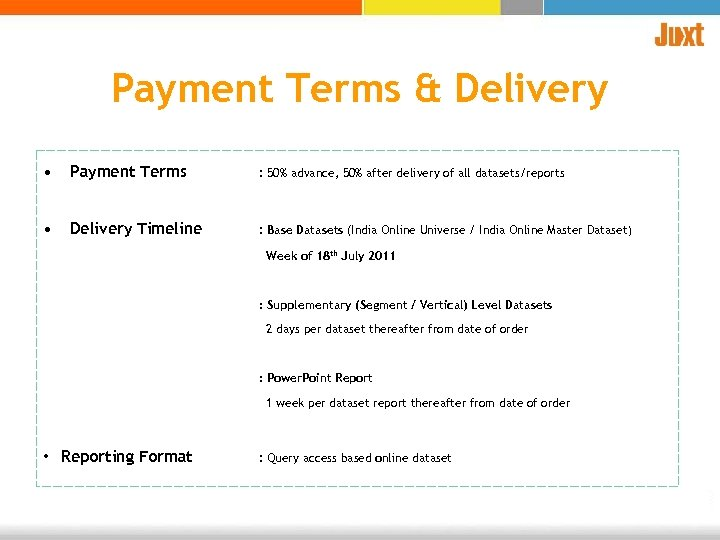 Payment Terms & Delivery • Payment Terms : 50% advance, 50% after delivery of