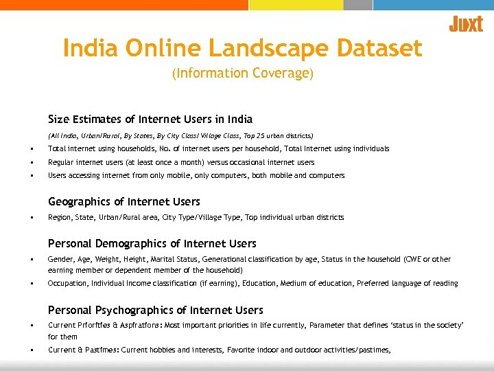 India Online Landscape Dataset (Information Coverage) Size Estimates of Internet Users in India (All