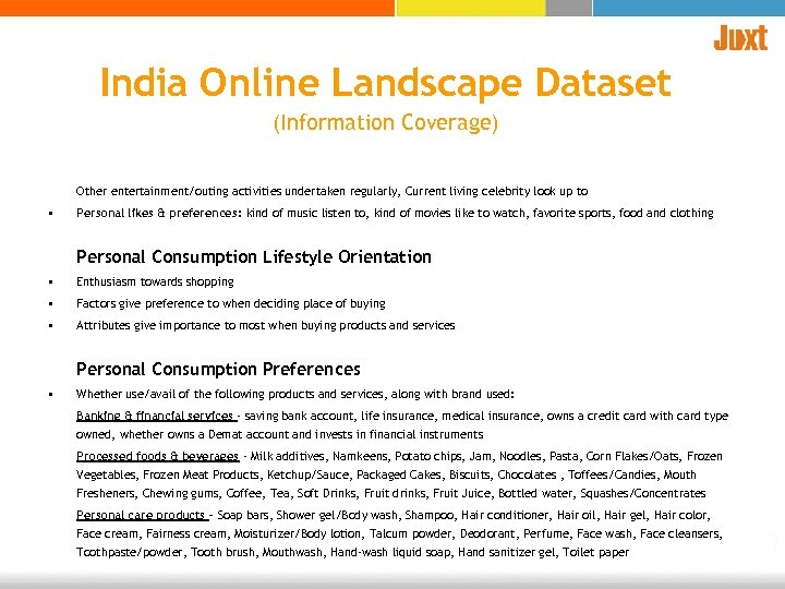 India Online Landscape Dataset (Information Coverage) Other entertainment/outing activities undertaken regularly, Current living celebrity