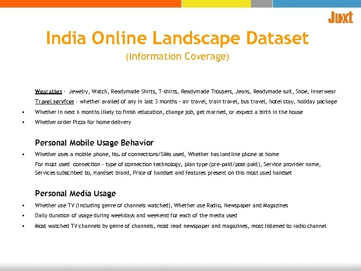 India Online Landscape Dataset (Information Coverage) Wearables - Jewelry, Watch, Readymade Shirts, T-shirts, Readymade