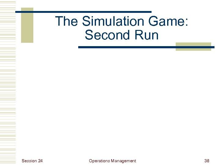 The Simulation Game: Second Run Session 24 Operations Management 38