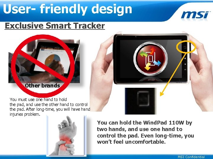 User- friendly design Exclusive Smart Tracker Other brands You must use one hand to