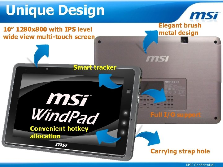 """Unique Design 10"""" 1280 x 800 with IPS level wide view multi-touch screen Elegant"""