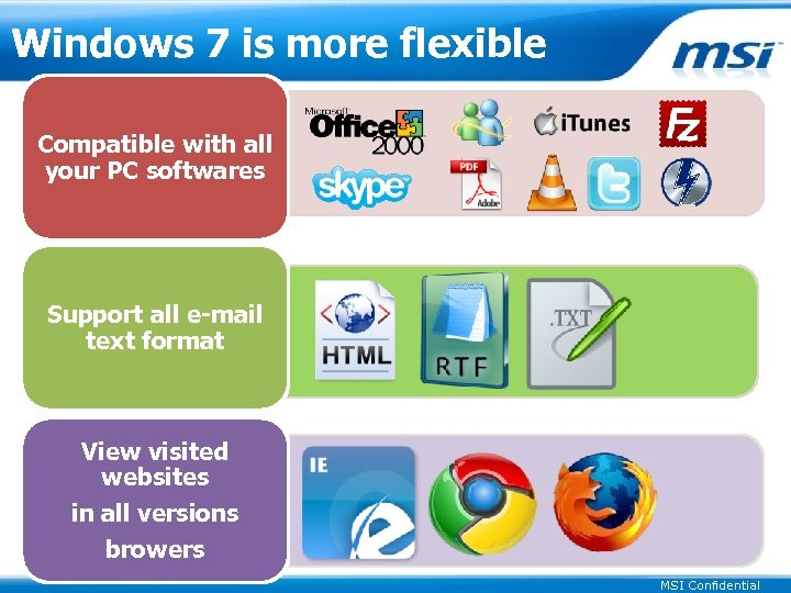 Windows 7 is more flexible Compatible with all your PC softwares Support all e-mail
