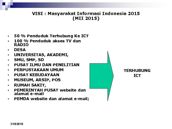 VISI : Masyarakat Informasi Indonesia 2015 (MII 2015) • • • 50 % Penduduk