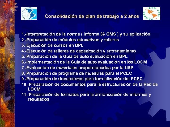 Consolidación de plan de trabajo a 2 años 1. -Interpretación de la norma (