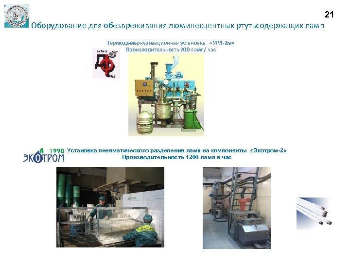 21 Оборудование для обезвреживания люминесцентных ртутьсодержащих ламп Термодемеркуризационная установка «УРЛ-2 м» Производительность 200 ламп/